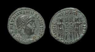 Roman Constantine II  Soldiers and Standards AE 19