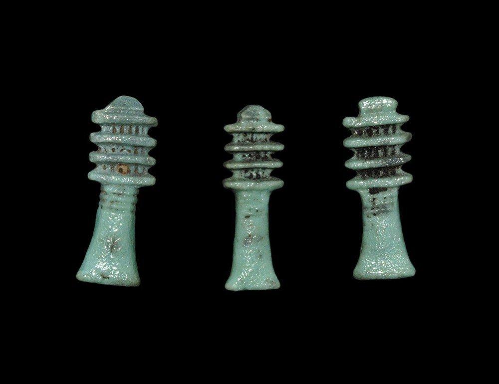 Egyptian Glazed Composition Djed Amulet Group