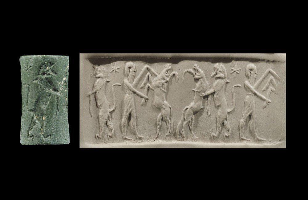 Near Eastern Akkadian Style Green Stone Cylinder Seal