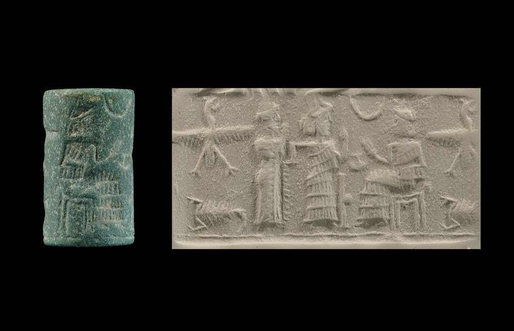 Near Eastern Old Babylonian Style Green Stone Cylinder