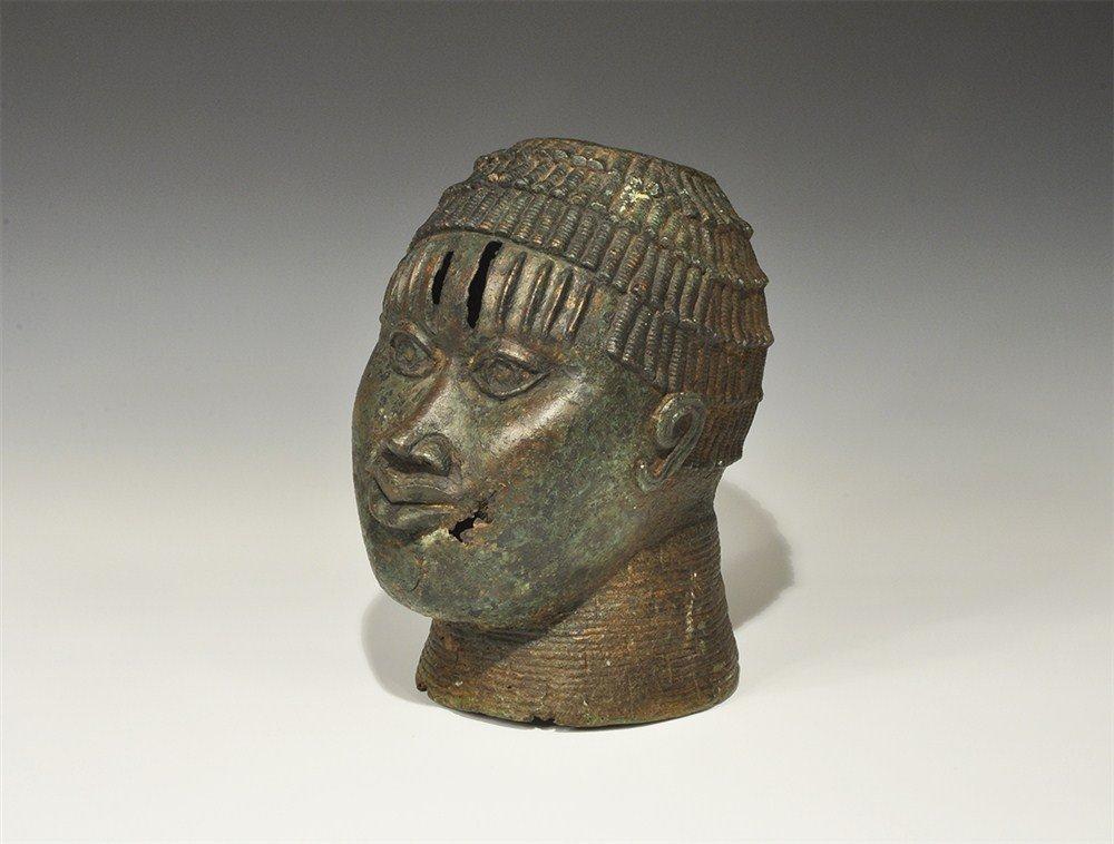 African Benin Bronze Altar Head