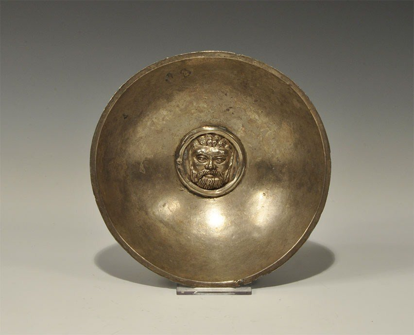 Greek Silver Bowl with Central Repousse
