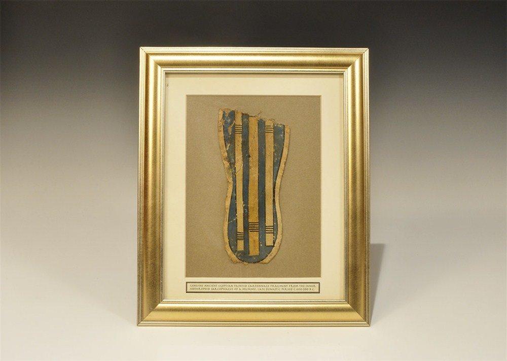 Egyptian Cartonnage Painted Sarcophagus Foot