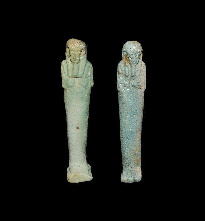 Egyptian Blue-Glazed Composition Shabti Group