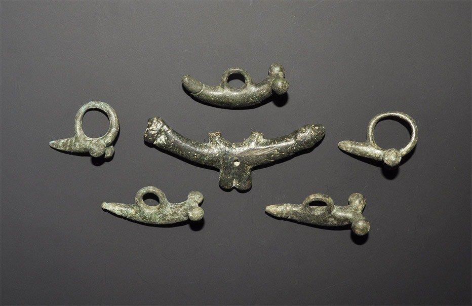 Roman Bronze Phallic Pendant Group