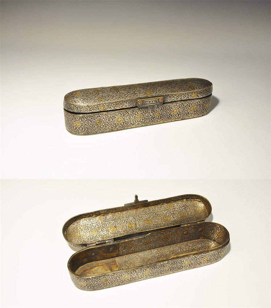 Islamic Bronze Gold and Silver-Inlaid Pen Box