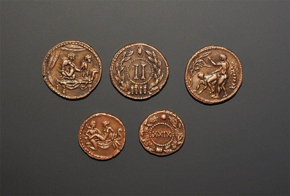 Roman Style Bronze Erotic Brothel Token Group