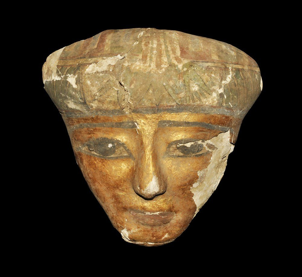 Egyptian Gilded Wooden Female Sarcophagus Mask