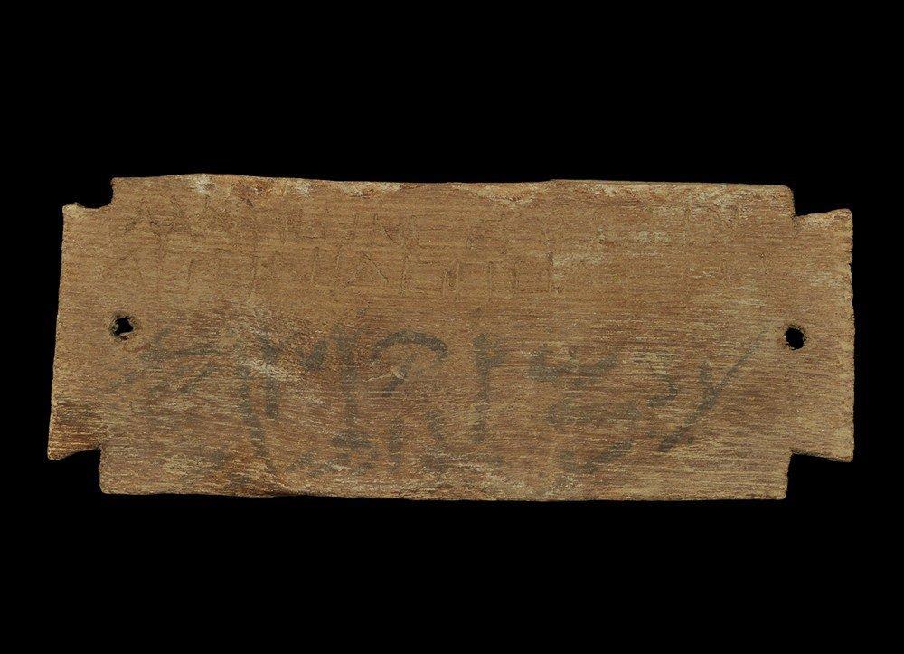 Romano-Egyptian Bilingual Epigraphic Wooden Mummy Label