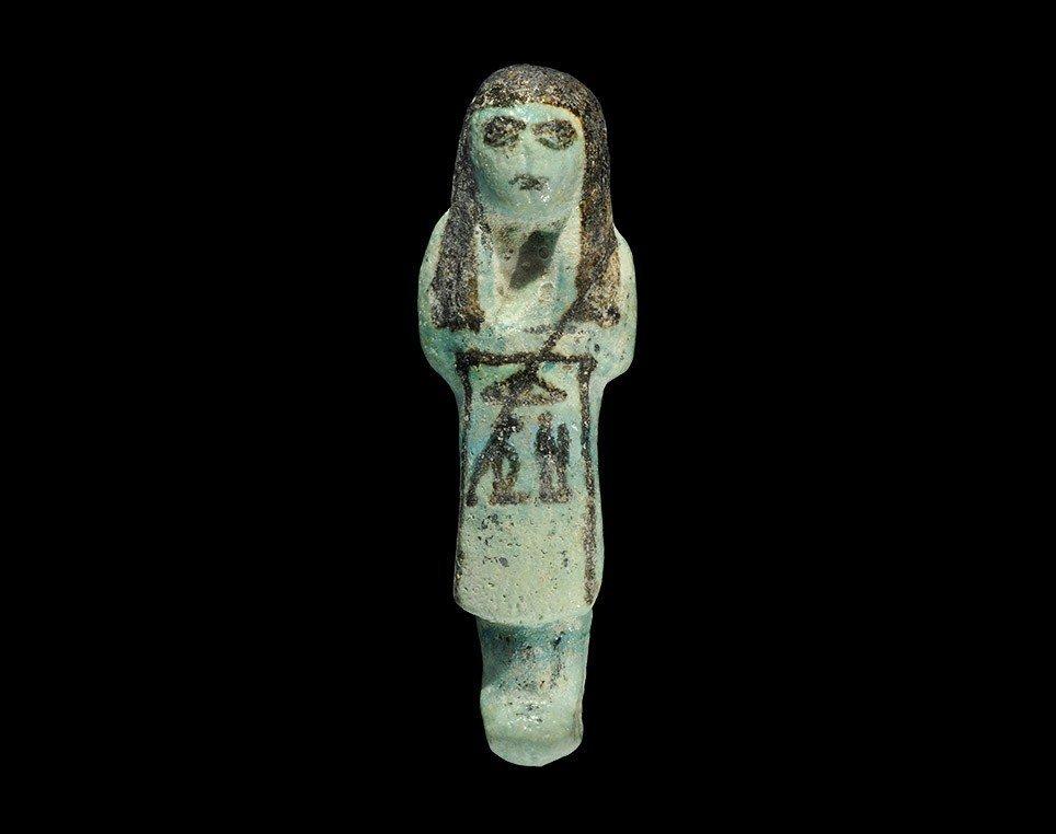 Egyptian Bluish-Green Glazed 'Overseer' Shabti