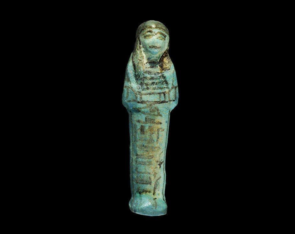 Egyptian Bluish-Green Glazed 'Nb-nsw-a-Amun' Shabti