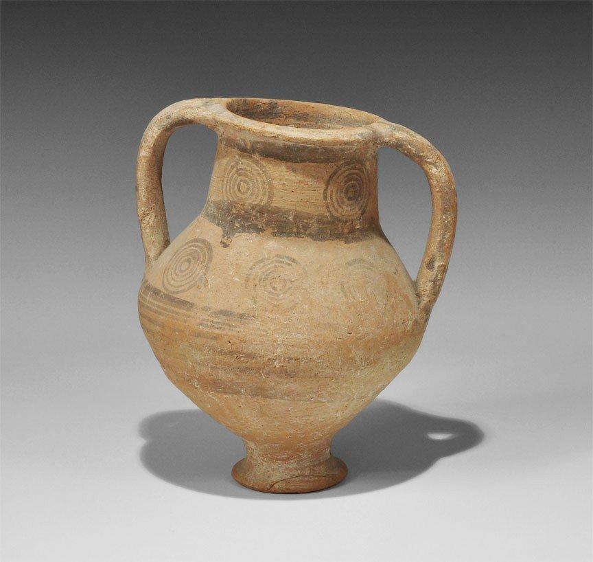 Greek Cypriot Painted Two-Handled Vase