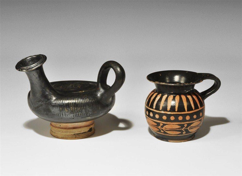 Greek Apulian Blackware Guttos and Aryballos