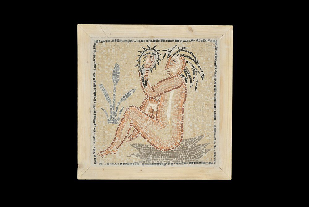 Roman Style Woman with Mirror Mosaic Panel