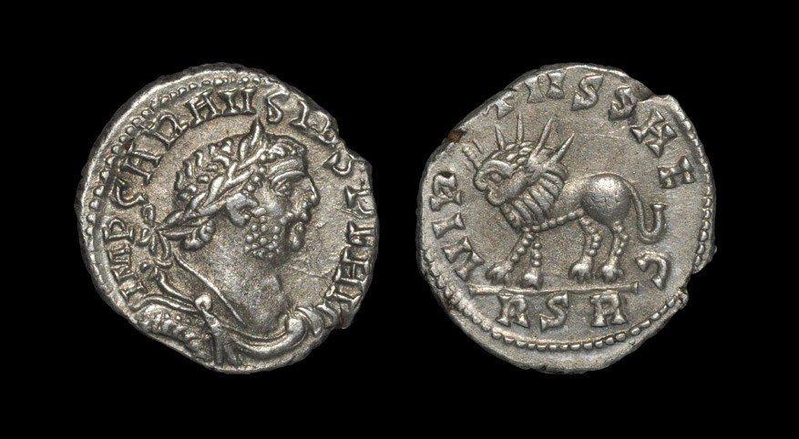 Roman Carausius - Virtus Radiate Lion Denarius