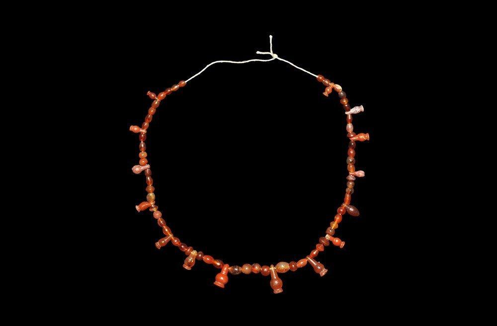 Egyptian Carnelian Poppy Bead Necklace