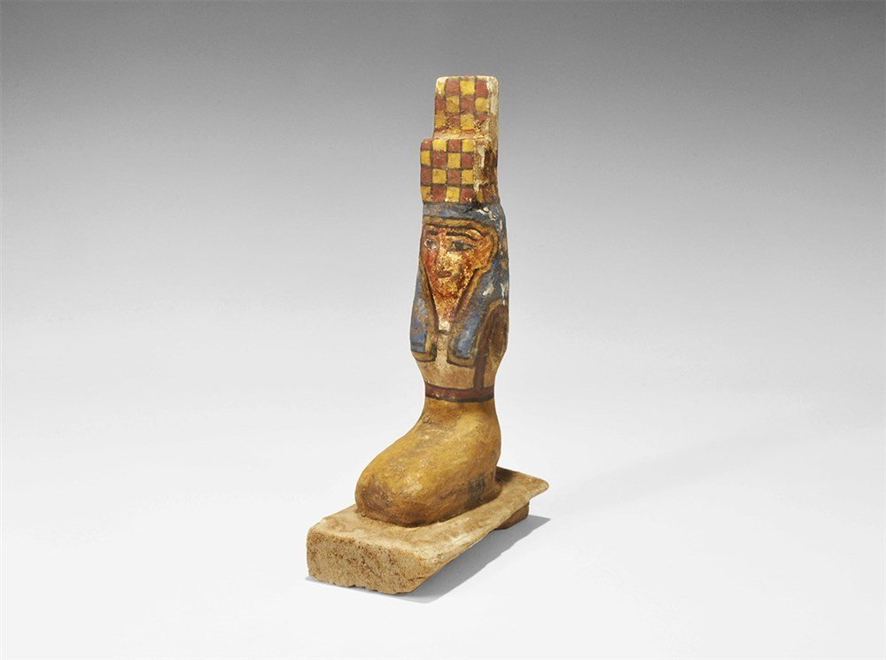 Egyptian Painted Wooden Isis Figurine