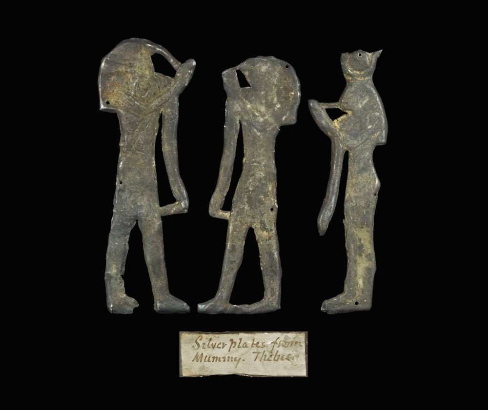Egyptian Silver 'Family Gods' Plaque Group