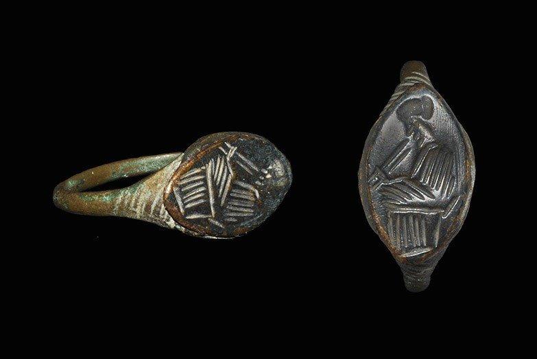 Egyptian Bronze Pan Finger Ring