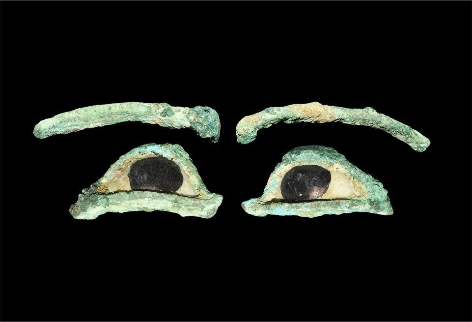 Egyptian Bronze and Ceramic Mummy Mask Eyes