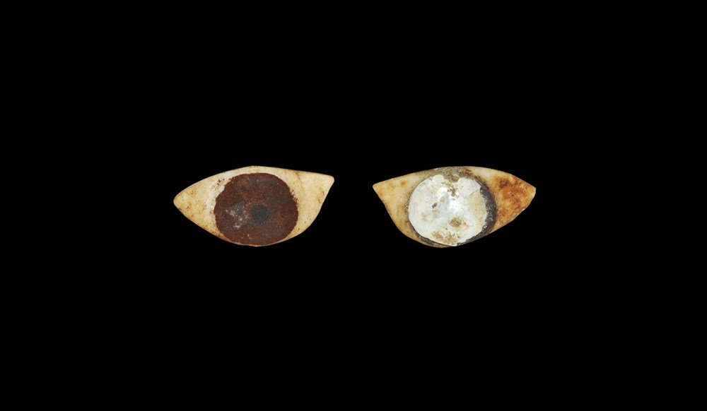 Egyptian Pair of Alabaster Eyes with Inlay