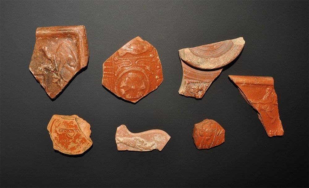 Roman Decorated Samian Ware Sherd Group