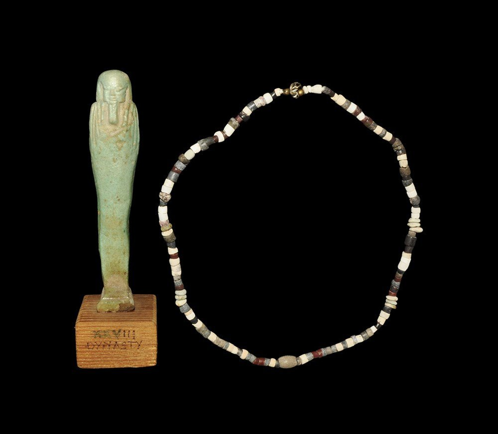 Egyptian Composition Shabti and Bead Necklace Group