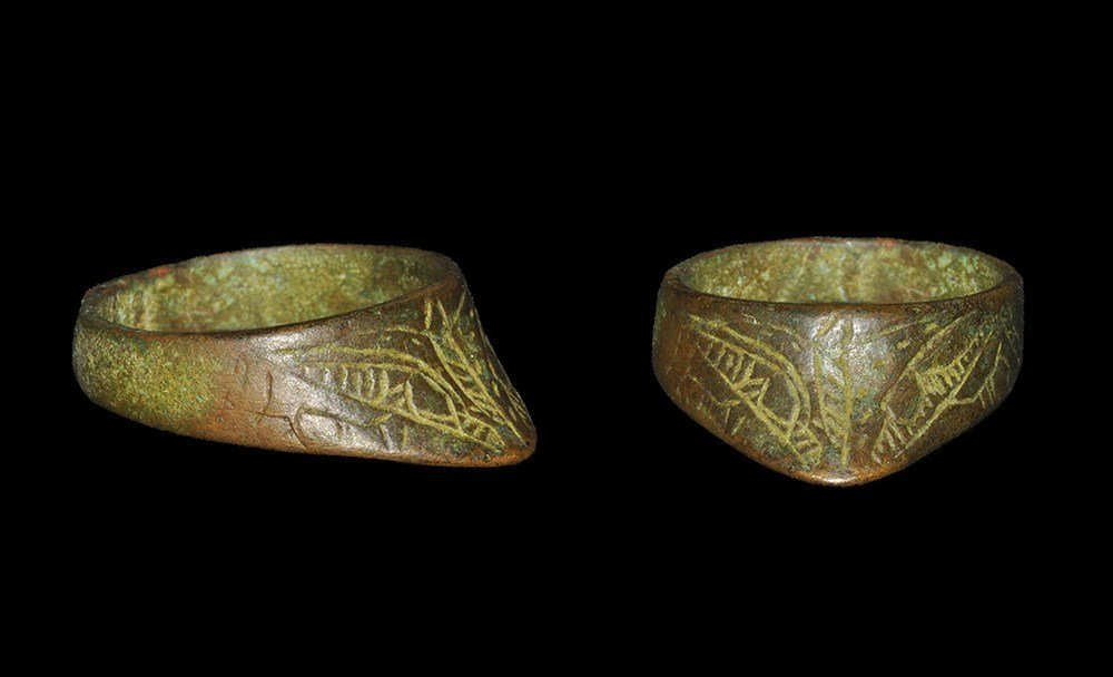 Islamic Bronze Decorated Archer's Thumb Ring