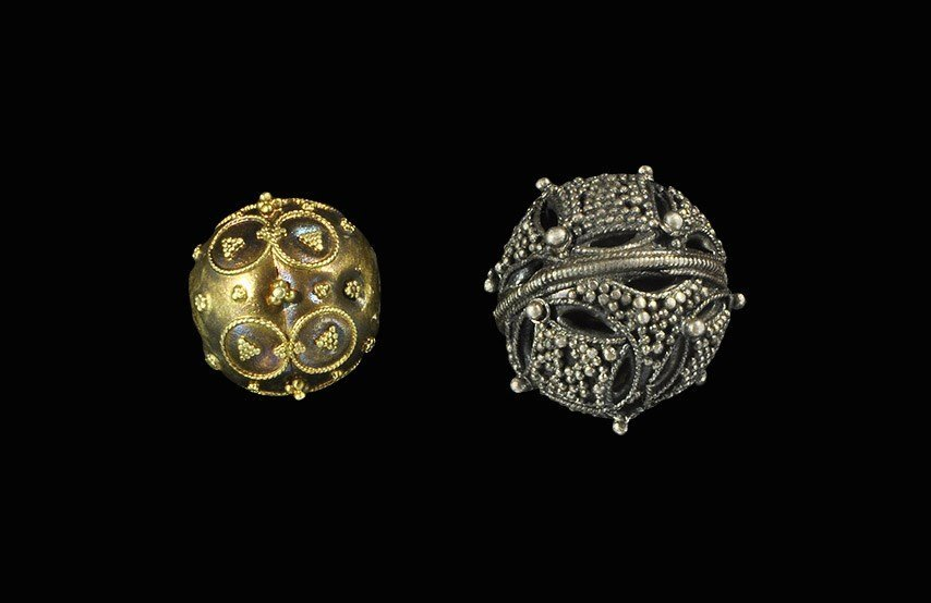 Post Medieval Silver and Bronze Pin Head Group with