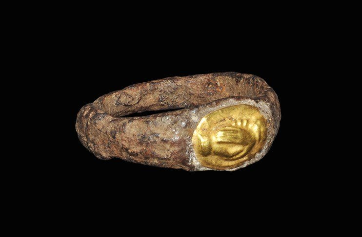 Roman Iron Ring with Gold Clasped-Hands Intaglio