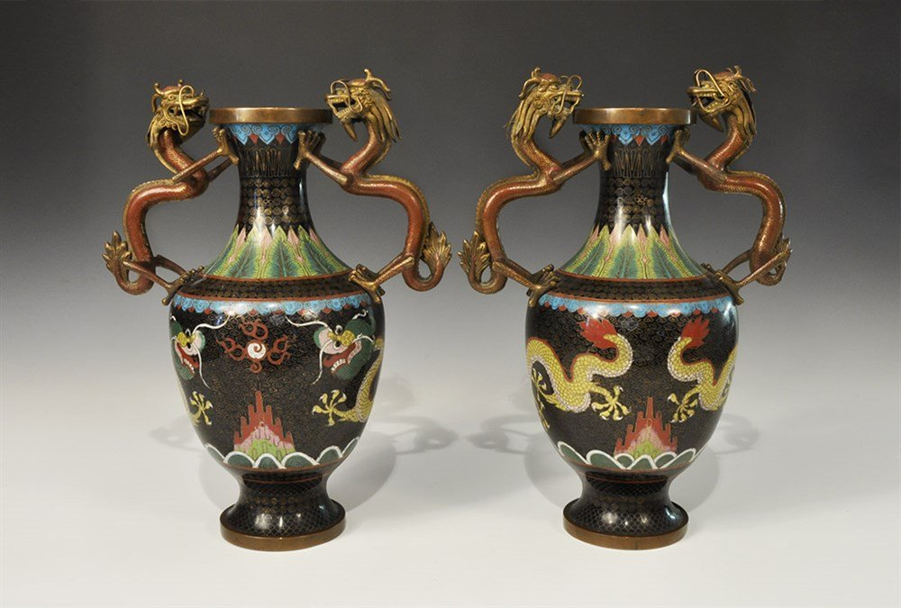 Chinese Bronze Enamelled Vase Pair with Dragon Handles