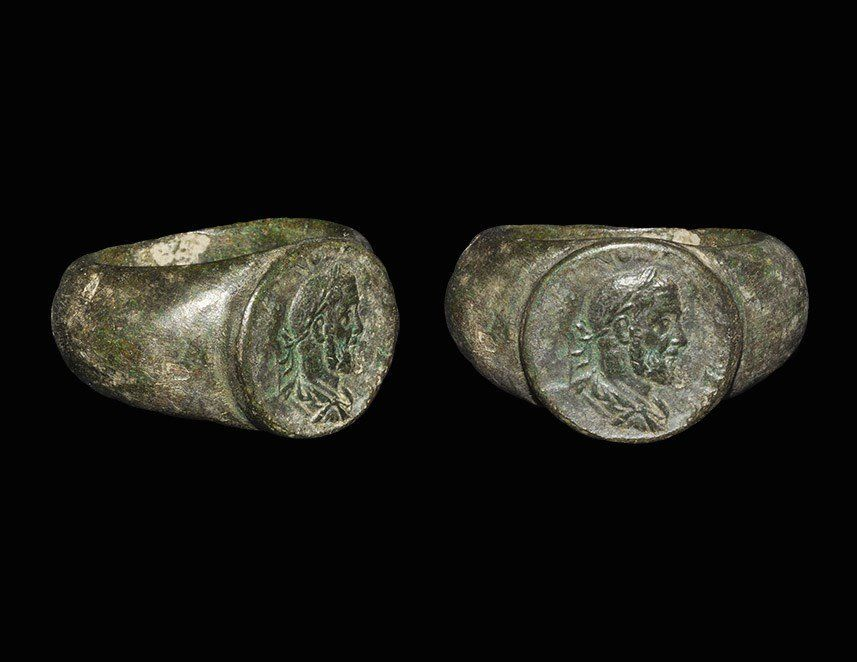 Roman Bronze Finger Ring with Bust of an Emperor