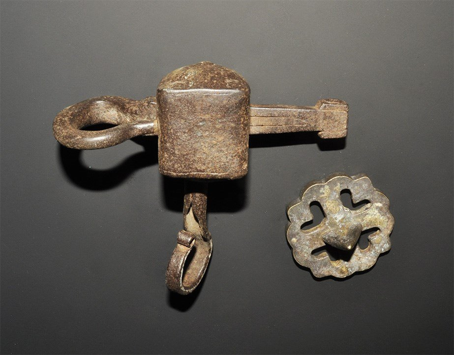 Islamic Iron Lock and Bronze Bread Stamp Group