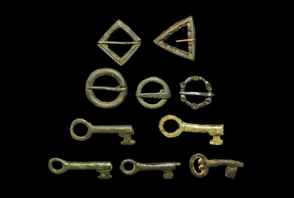 Medieval Bronze Key and Ring Brooch Group