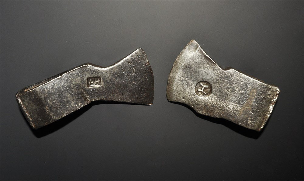 Post Medieval Iron Axehead Group with Maker's Marks