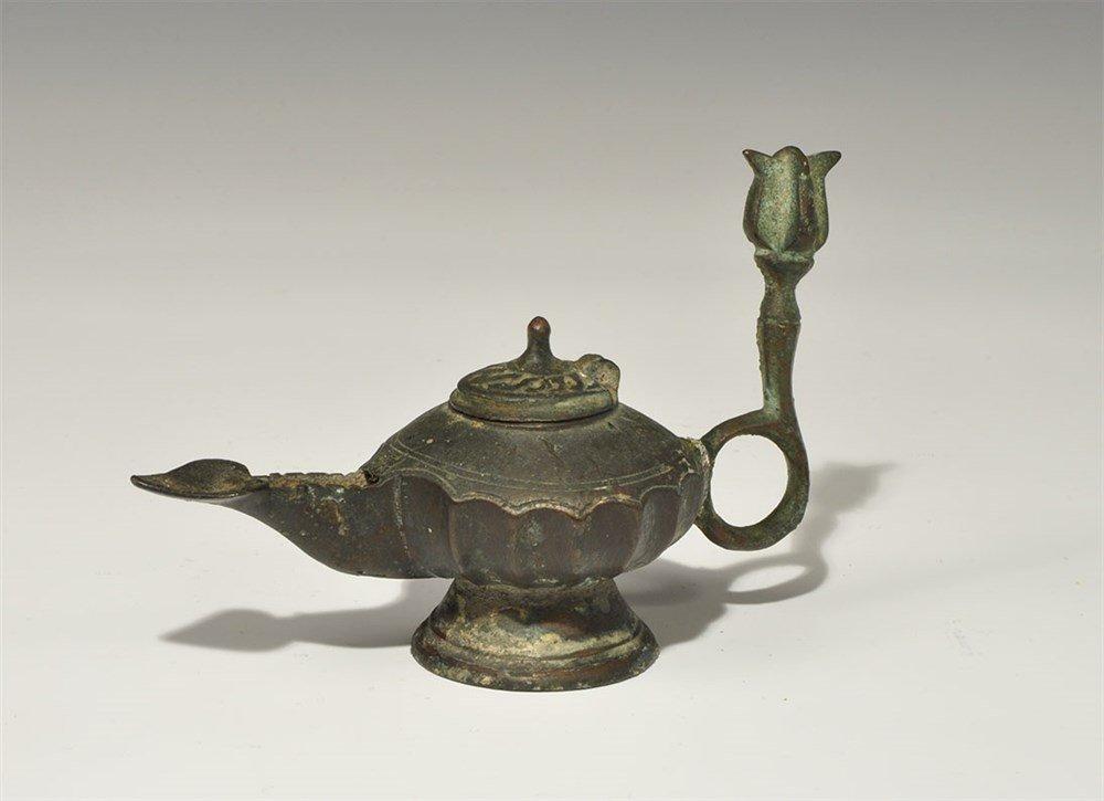 Islamic Bronze Lidded Oil Lamp