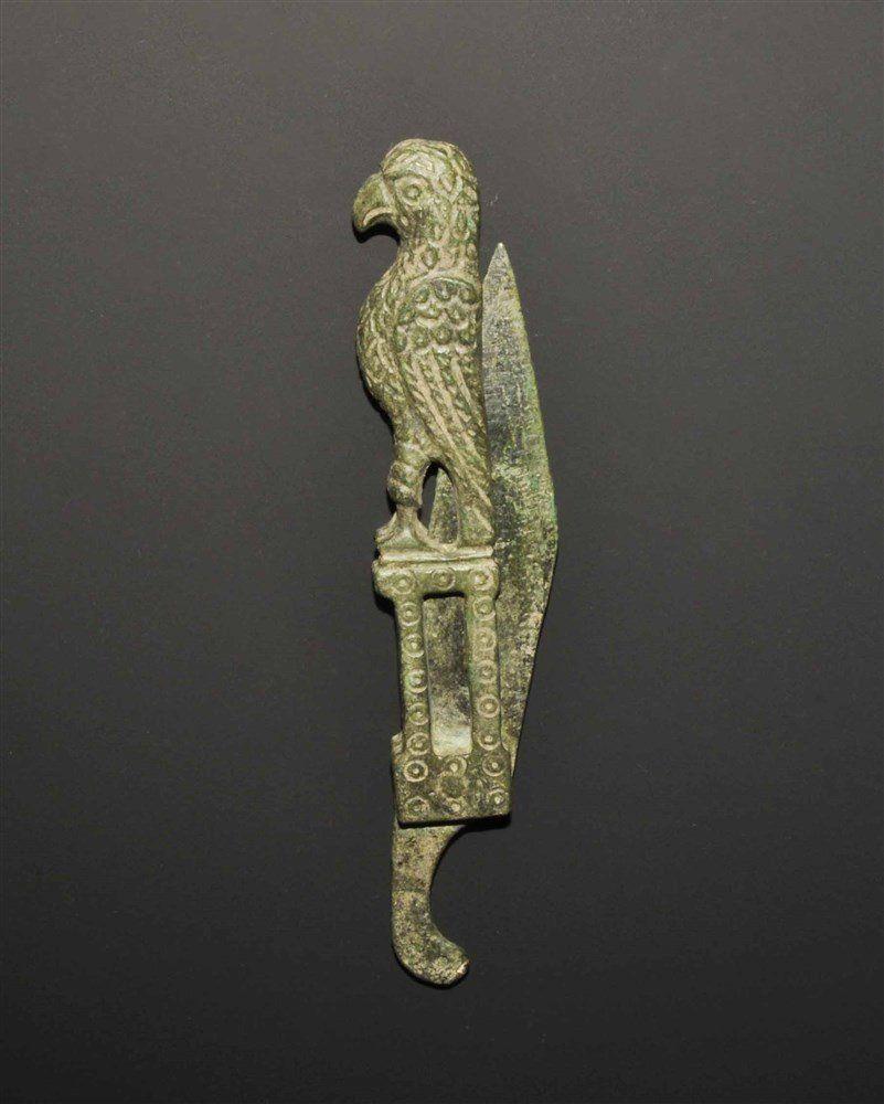 Roman Style Bronze Folding Razor with Eagle Handle
