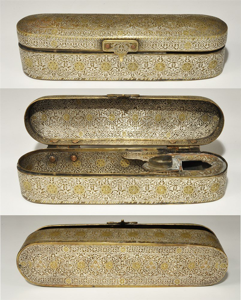 Islamic Style Bronze Pen Box with Silver and Gold Inlay