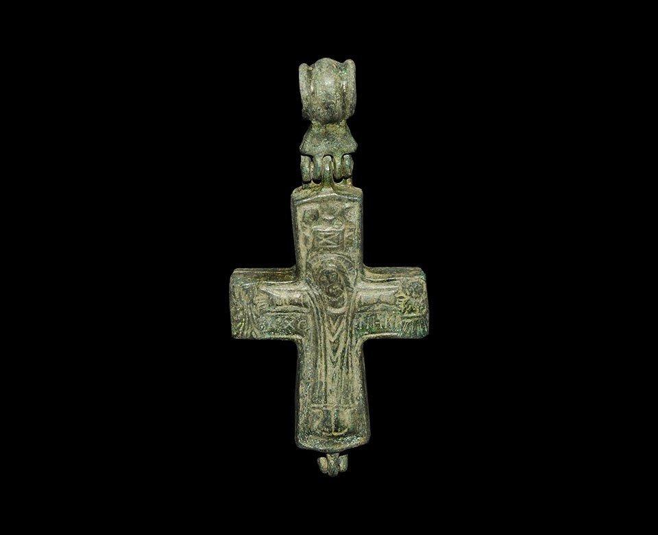 Byzantine Style Bronze Reliquary Cross Pendant