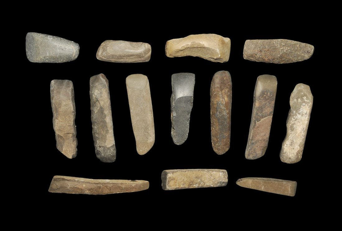 Stone Age Polished Stone Chisel Group