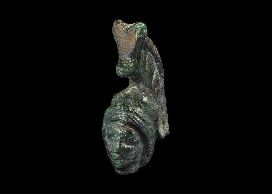 Roman Bronze Minerva Bust Mount