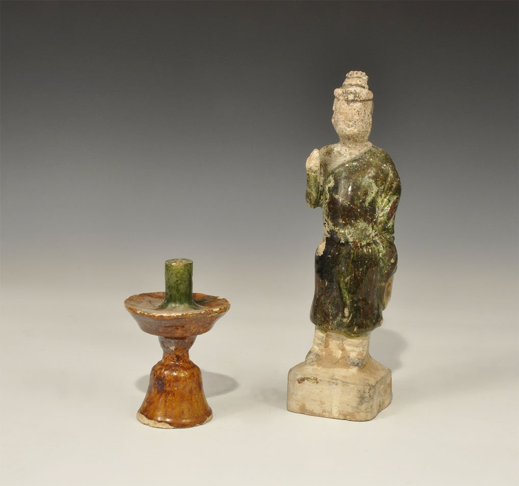 Chinese Ceramic Green Glazed Male Figure and