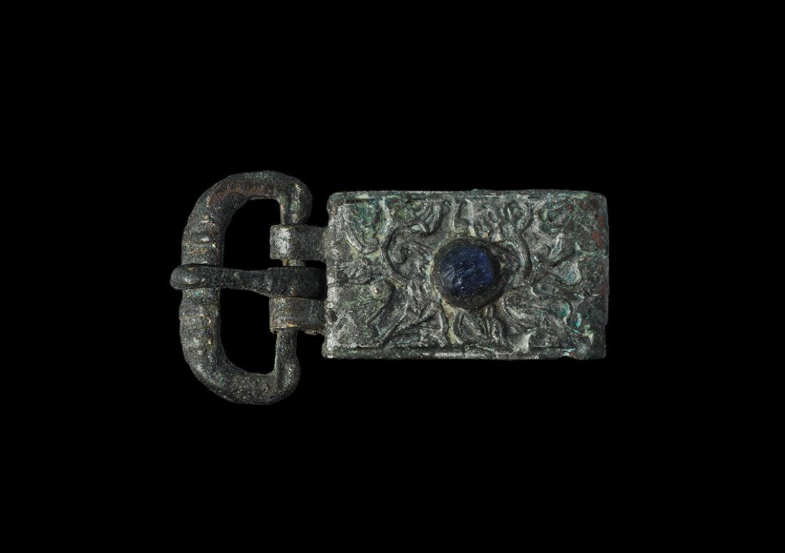 Medieval Silver Belt Buckle and Jewelled Plate