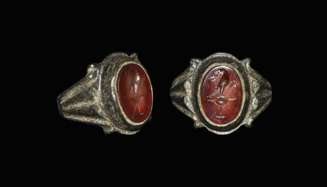 Roman Style Bronze Military Ring with Bird Intaglio