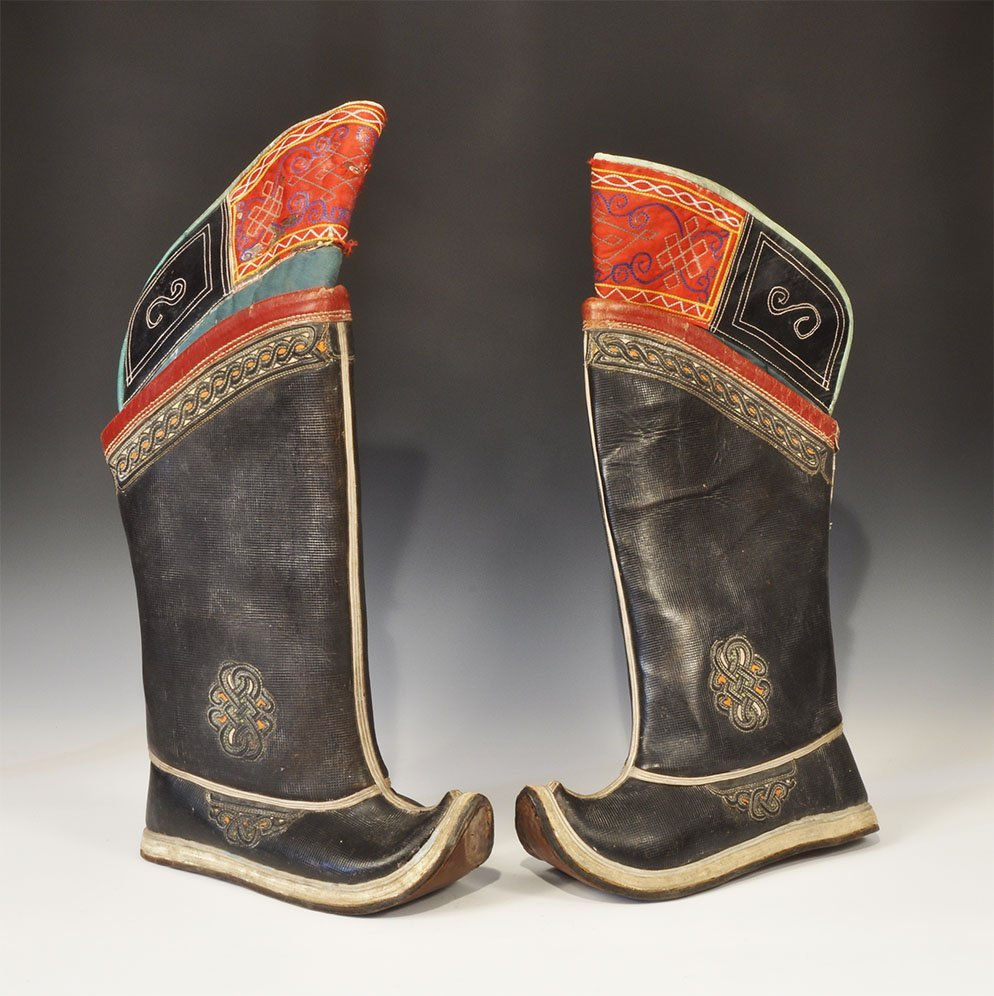 Chinese Tibetan Leather Ornamented Boot Pair