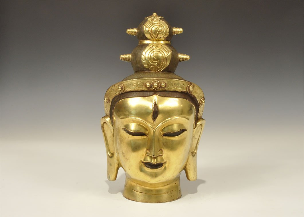 Chinese Style Large Gilt-Bronze Statue Head
