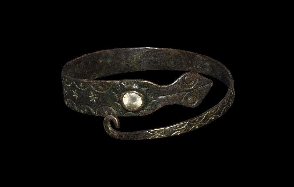 Medieval Bronze Bracelet with Rock Crystal Cabochon