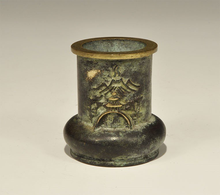 Chinese Bronze Vase with Mountain