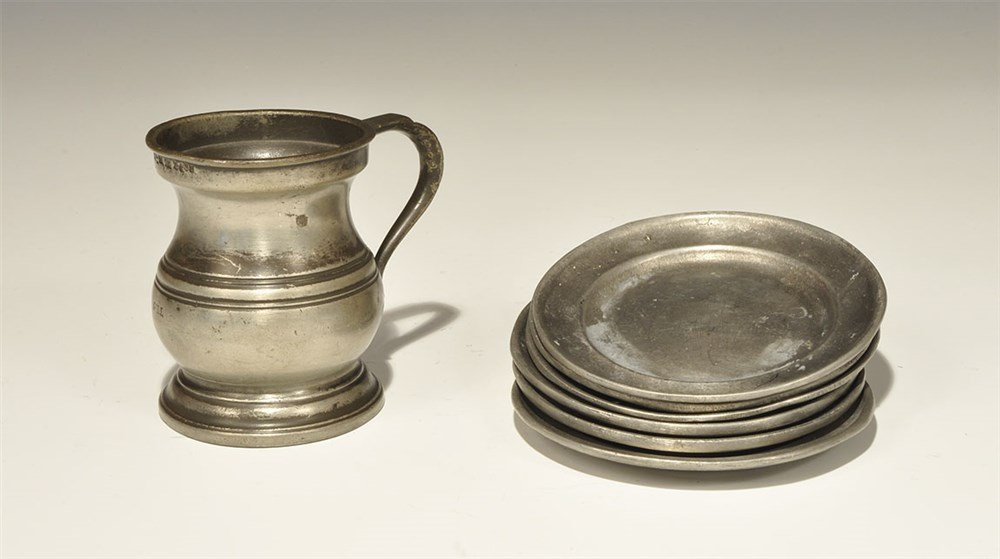 Post Medieval Pewter Tankard and Dish Group