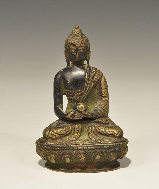 Chinese Tibetan Bronze Seated Buddha Figurine